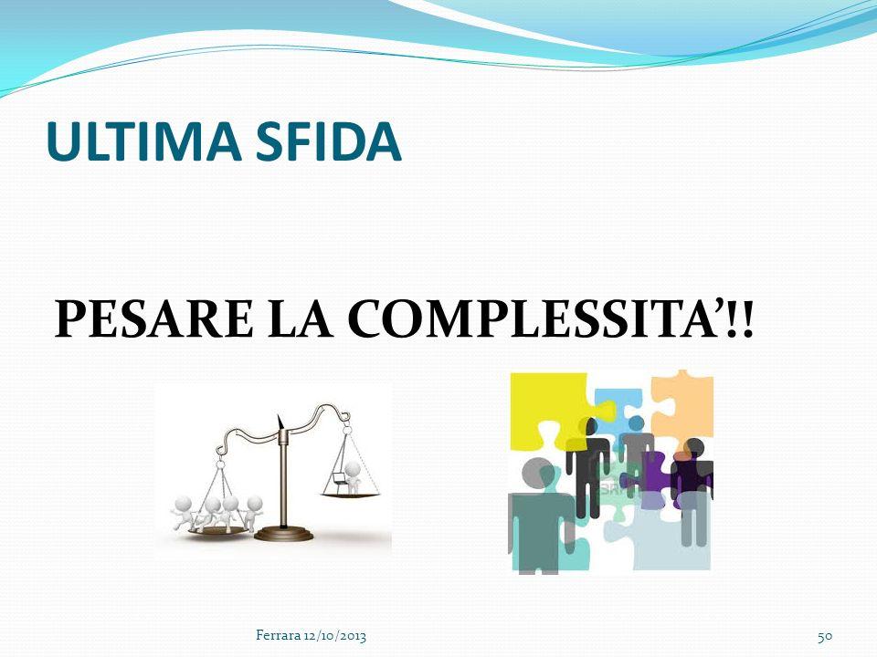 ULTIMA SFIDA PESARE LA COMPLESSITA!! Ferrara 12/10/201350