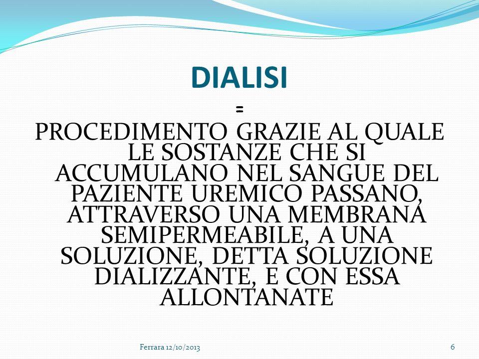 6 DIALISI = PROCEDIMENTO GRAZIE AL QUALE LE SOSTANZE CHE SI ACCUMULANO NEL SANGUE DEL PAZIENTE UREMICO PASSANO, ATTRAVERSO UNA MEMBRANA SEMIPERMEABILE