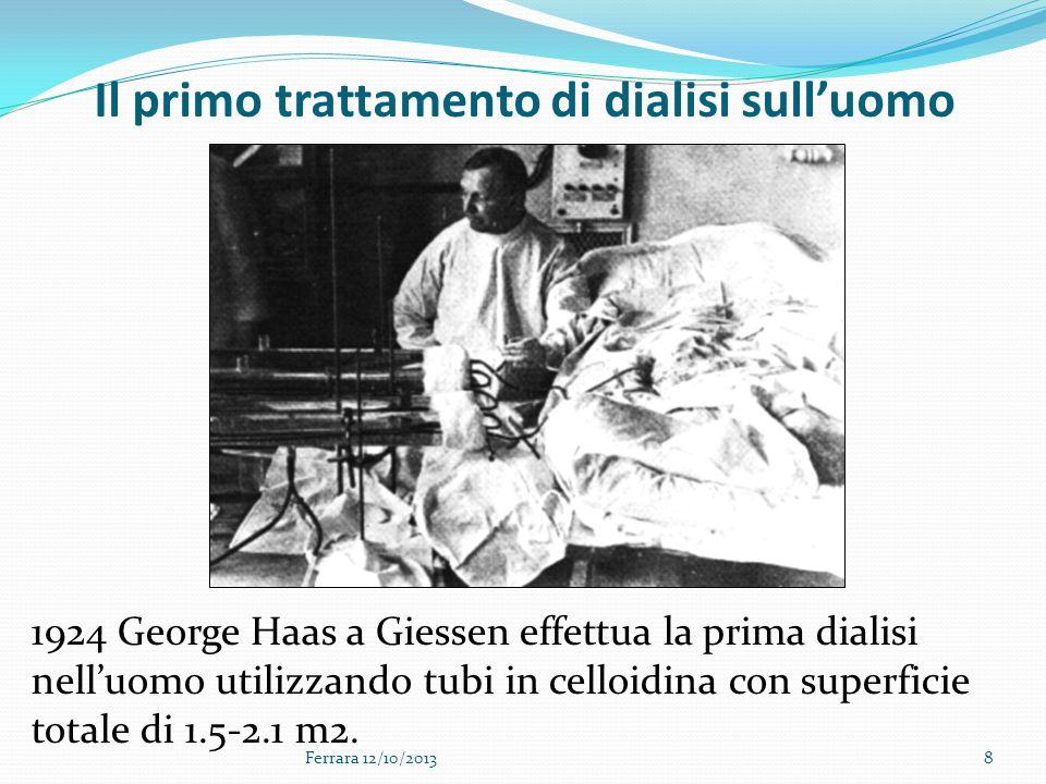 Ferrara 12/10/20138 Il primo trattamento di dialisi sulluomo 1924 George Haas a Giessen effettua la prima dialisi nelluomo utilizzando tubi in celloid