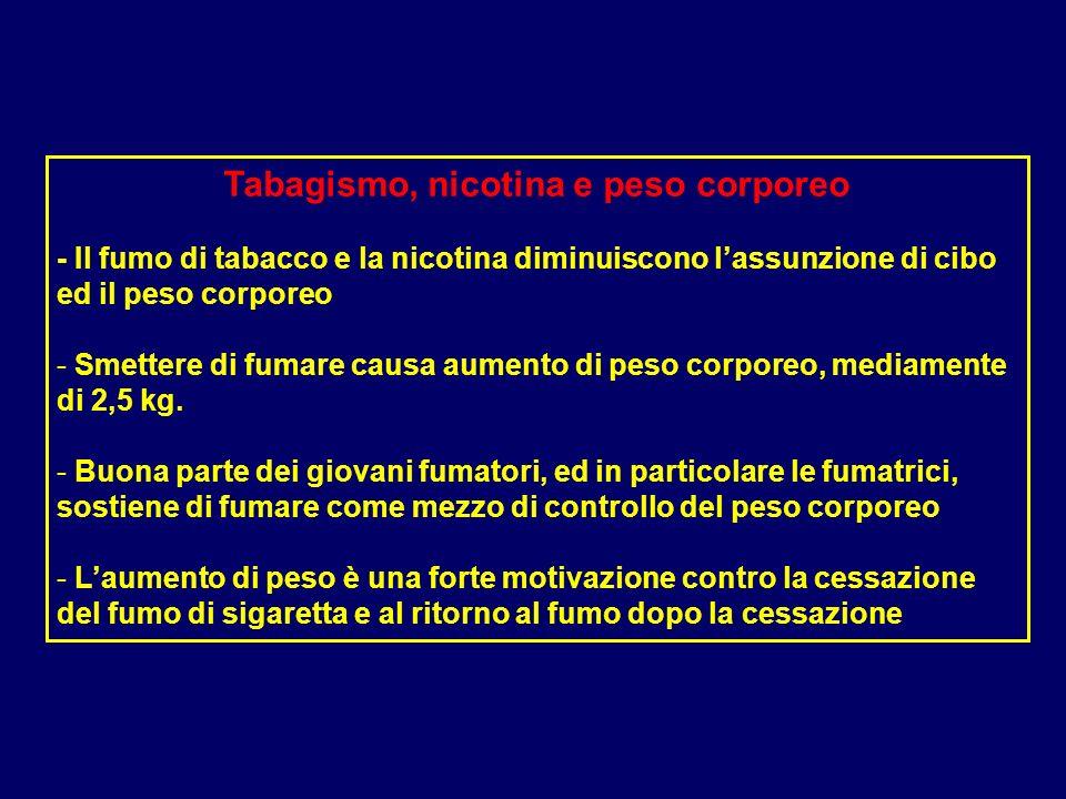 Tabagismo, nicotina e peso corporeo - Il fumo di tabacco e la nicotina diminuiscono lassunzione di cibo ed il peso corporeo - Smettere di fumare causa