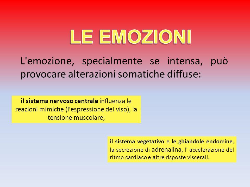 L'emozione, specialmente se intensa, può provocare alterazioni somatiche diffuse: il sistema vegetativo e le ghiandole endocrine, la secrezione di adr