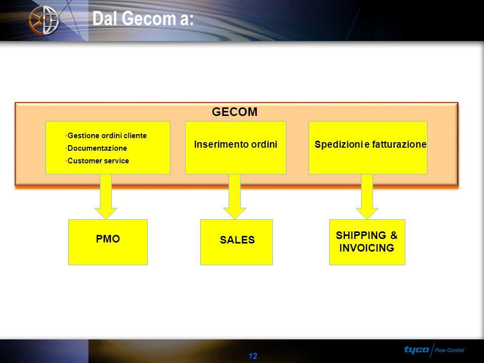 Dal Gecom a: 12 GECOM PMO Inserimento ordiniSpedizioni e fatturazione SALES Gestione ordini cliente Documentazione Customer service SHIPPING & INVOICI