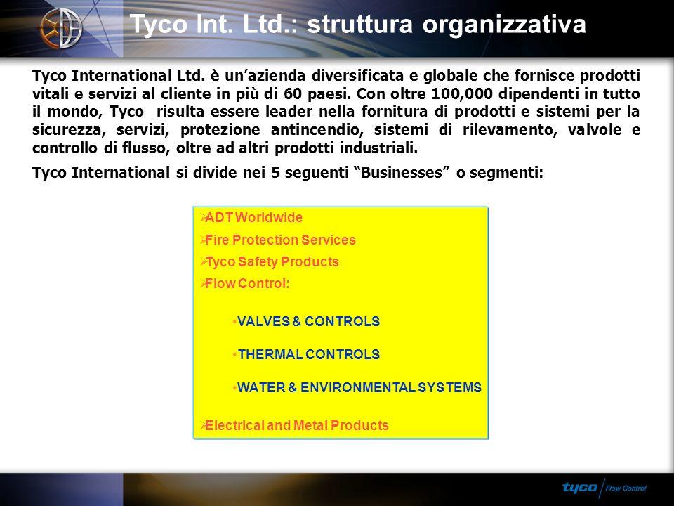 Tyco Int. Ltd.: struttura organizzativa Tyco International Ltd. è unazienda diversificata e globale che fornisce prodotti vitali e servizi al cliente