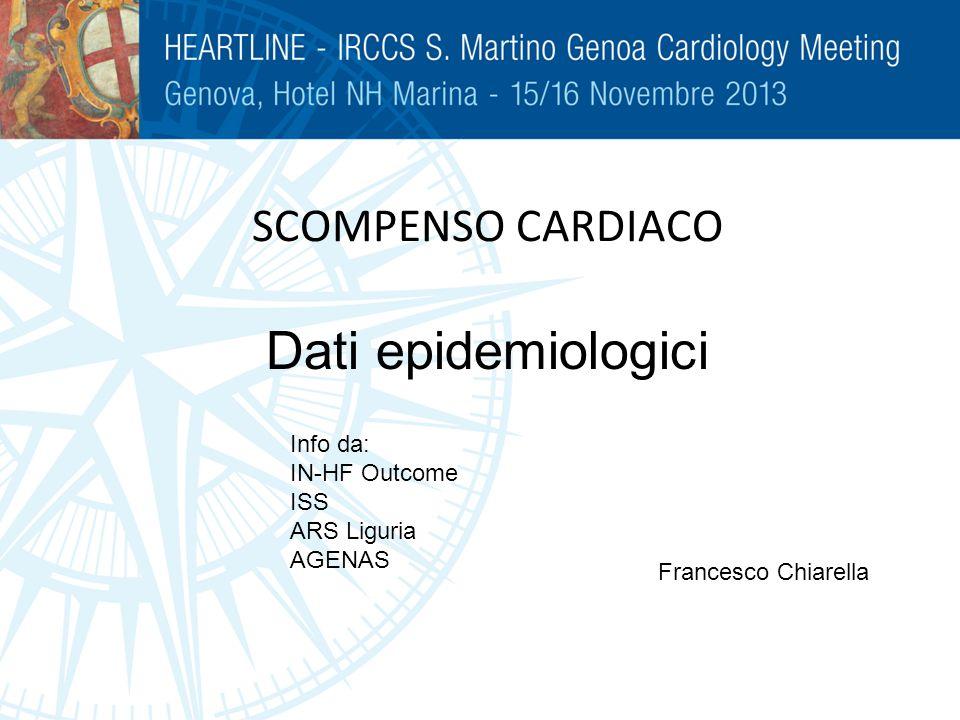 SCOMPENSO CARDIACO Dati epidemiologici Francesco Chiarella Info da: IN-HF Outcome ISS ARS Liguria AGENAS