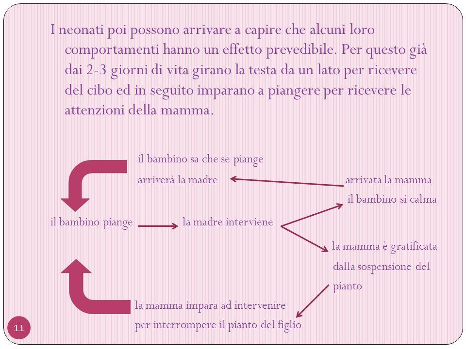 11 I neonati poi possono arrivare a capire che alcuni loro comportamenti hanno un effetto prevedibile.