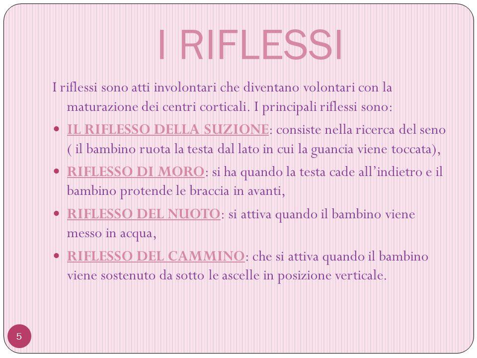 I RIFLESSI 5 I riflessi sono atti involontari che diventano volontari con la maturazione dei centri corticali.