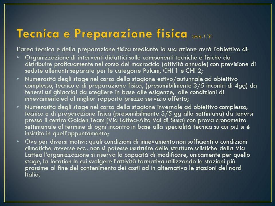 Larea tecnica e della preparazione fisica mediante la sua azione avrà lobiettivo di: Organizzazione di interventi didattici sulle componenti tecniche