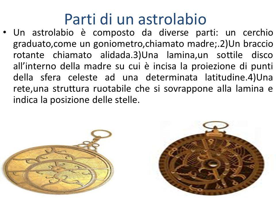 Parti di un astrolabio Un astrolabio è composto da diverse parti: un cerchio graduato,come un goniometro,chiamato madre;.2)Un braccio rotante chiamato