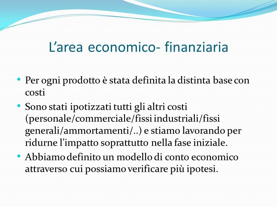 Larea economico- finanziaria Per ogni prodotto è stata definita la distinta base con costi Sono stati ipotizzati tutti gli altri costi (personale/comm