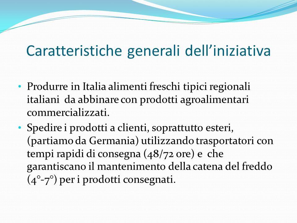 Caratteristiche generali delliniziativa Produrre in Italia alimenti freschi tipici regionali italiani da abbinare con prodotti agroalimentari commerci