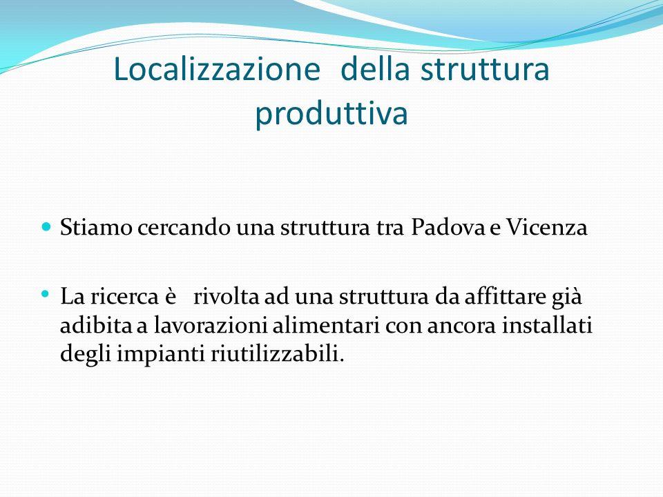 Localizzazione della struttura produttiva Stiamo cercando una struttura tra Padova e Vicenza La ricerca è rivolta ad una struttura da affittare già ad