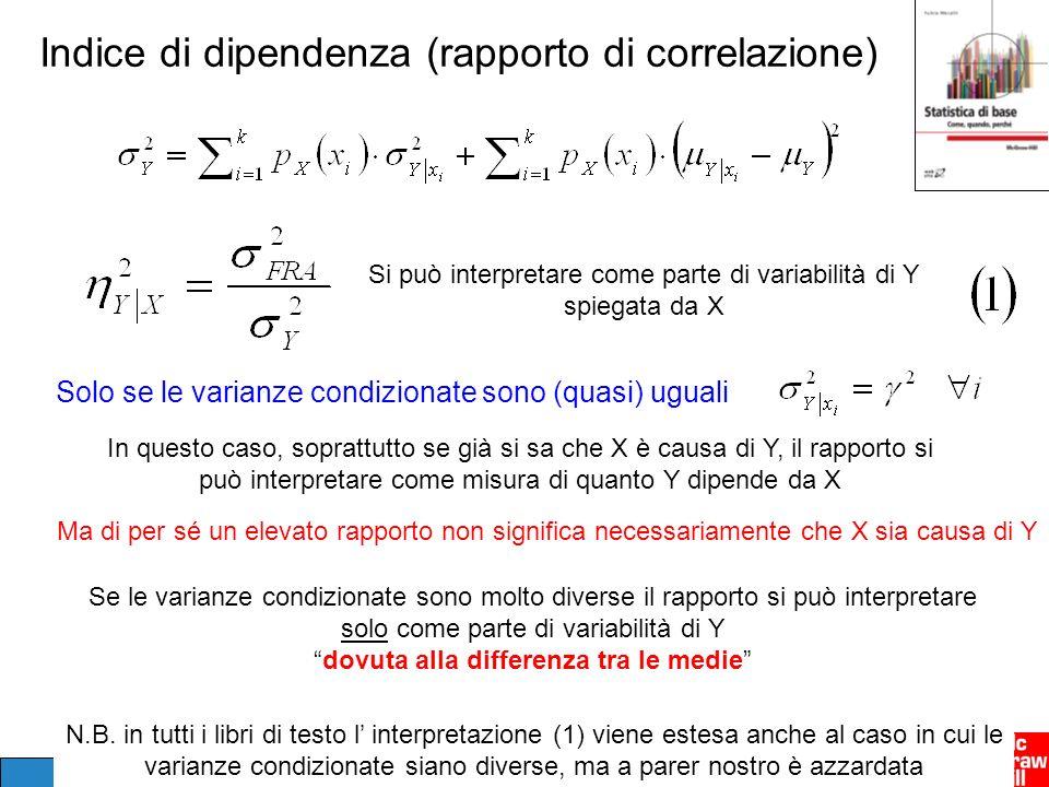 Indice di dipendenza (rapporto di correlazione) In questo caso, soprattutto se già si sa che X è causa di Y, il rapporto si può interpretare come misu