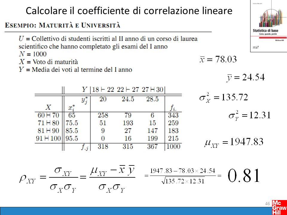 Calcolare il coefficiente di correlazione lineare 46
