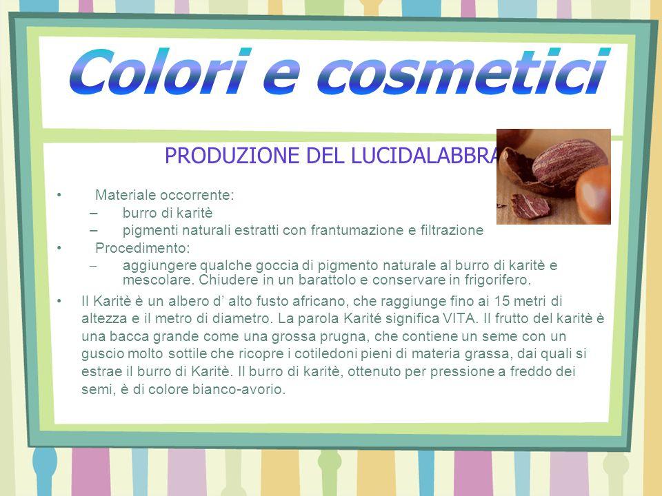 PRODUZIONE DEL LUCIDALABBRA Materiale occorrente: –burro di karitè –pigmenti naturali estratti con frantumazione e filtrazione Procedimento: – aggiung
