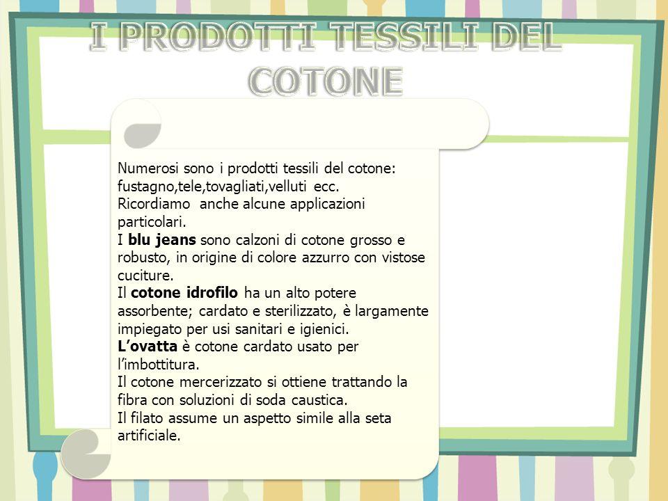 Numerosi sono i prodotti tessili del cotone: fustagno,tele,tovagliati,velluti ecc. Ricordiamo anche alcune applicazioni particolari. I blu jeans sono