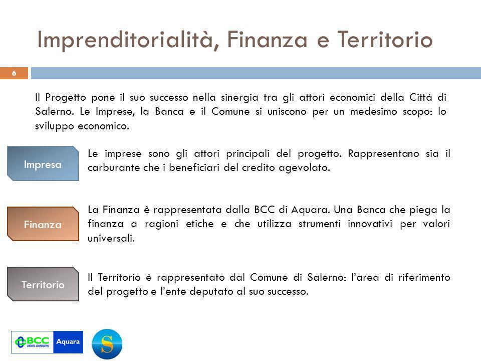 Imprenditorialità, Finanza e Territorio 6 Il Progetto pone il suo successo nella sinergia tra gli attori economici della Città di Salerno.