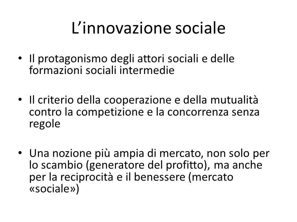 Linnovazione sociale Il protagonismo degli attori sociali e delle formazioni sociali intermedie Il criterio della cooperazione e della mutualità contro la competizione e la concorrenza senza regole Una nozione più ampia di mercato, non solo per lo scambio (generatore del profitto), ma anche per la reciprocità e il benessere (mercato «sociale»)