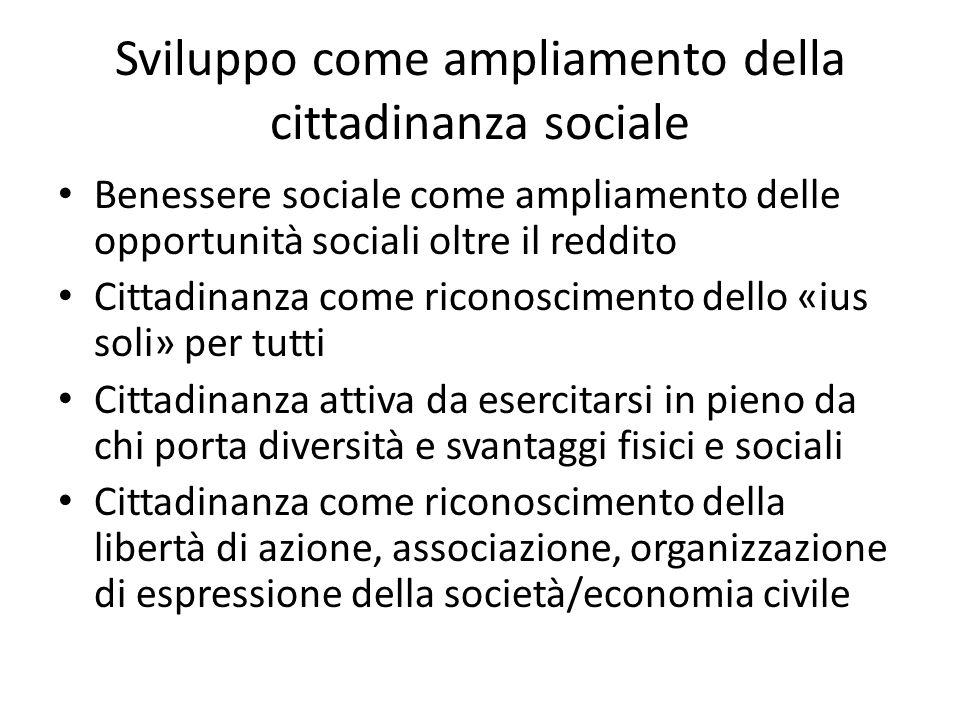 Sviluppo come ampliamento della cittadinanza sociale Benessere sociale come ampliamento delle opportunità sociali oltre il reddito Cittadinanza come r