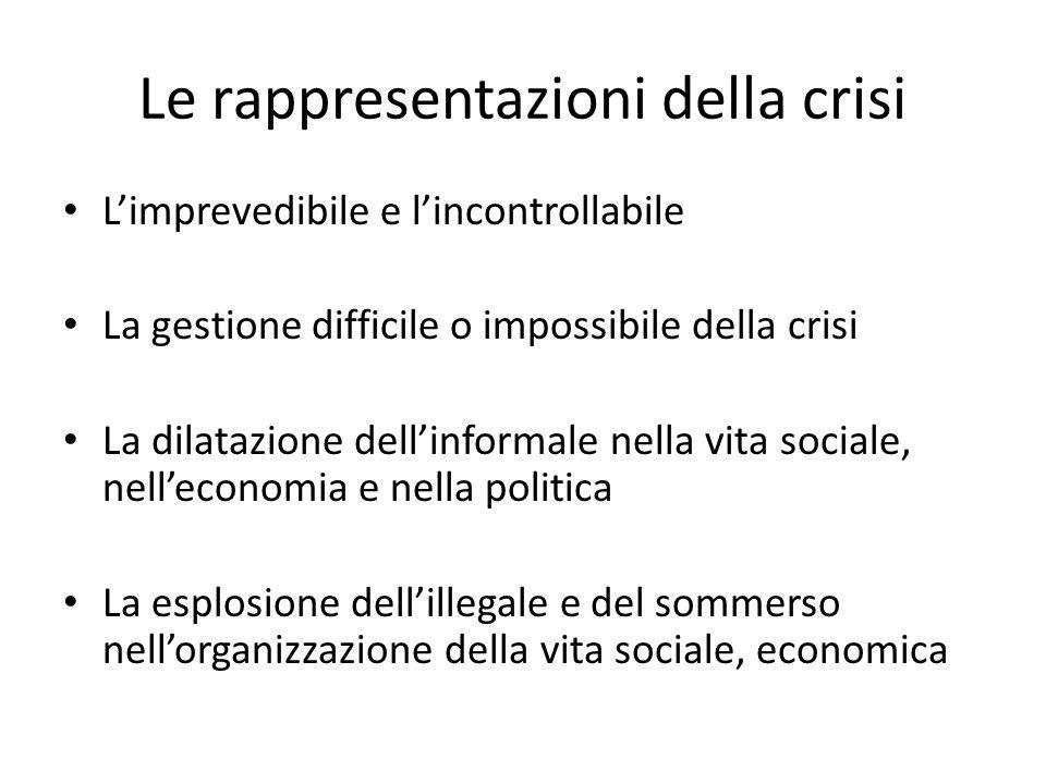 Le rappresentazioni della crisi Limprevedibile e lincontrollabile La gestione difficile o impossibile della crisi La dilatazione dellinformale nella v