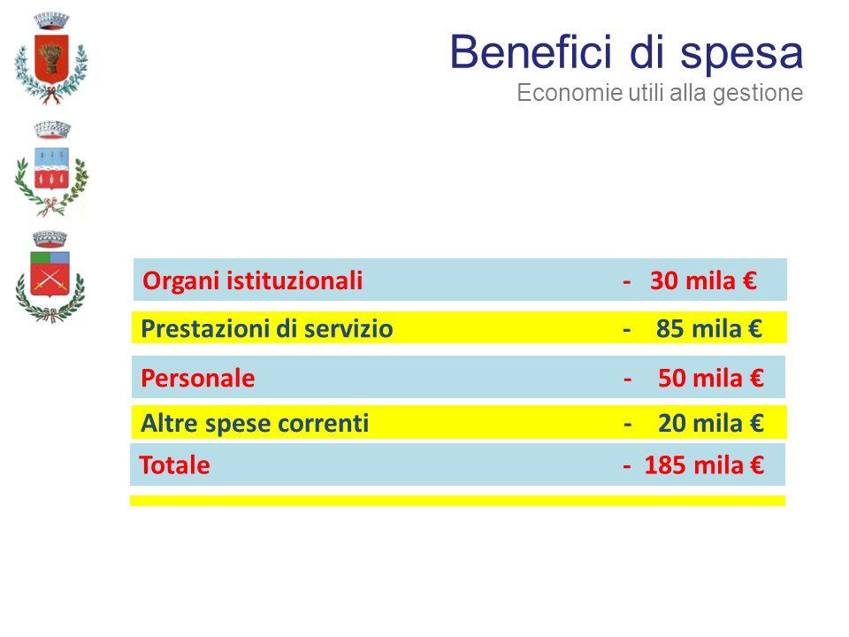 Altre spese correnti - 20 mila Prestazioni di servizio - 85 mila Benefici di spesa Economie utili alla gestione Organi istituzionali - 30 mila Personale - 50 mila Totale - 185 mila