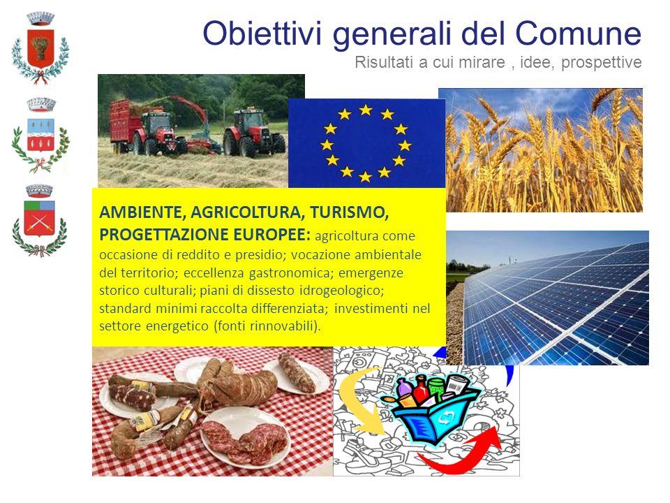 AMBIENTE, AGRICOLTURA, TURISMO, PROGETTAZIONE EUROPEE: agricoltura come occasione di reddito e presidio; vocazione ambientale del territorio; eccellen