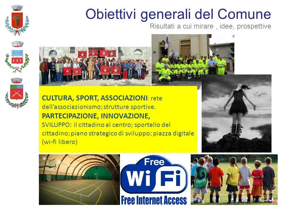 CULTURA, SPORT, ASSOCIAZIONI : rete dellassociazionismo; strutture sportive. PARTECIPAZIONE, INNOVAZIONE, SVILUPPO: il cittadino al centro; sportello