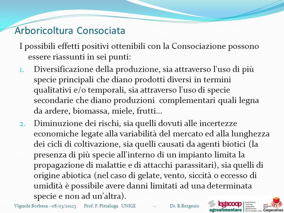 Arboricoltura Consociata I possibili effetti positivi ottenibili con la Consociazione possono essere riassunti in sei punti: 1. Diversificazione della