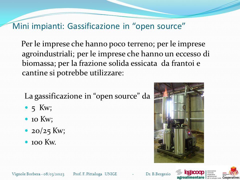 Mini impianti: Gassificazione in open source Per le imprese che hanno poco terreno; per le imprese agroindustriali; per le imprese che hanno un eccess