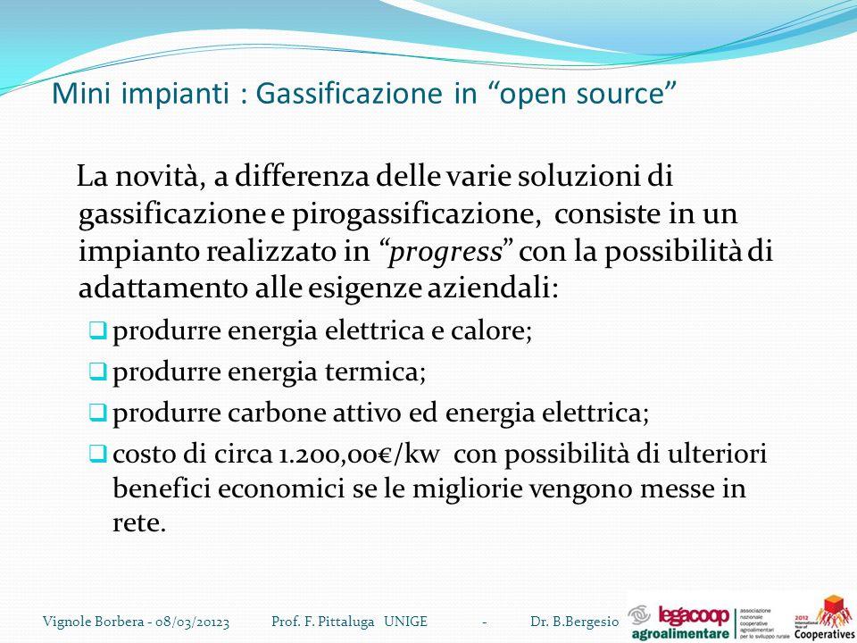 Mini impianti : Gassificazione in open source La novità, a differenza delle varie soluzioni di gassificazione e pirogassificazione, consiste in un imp