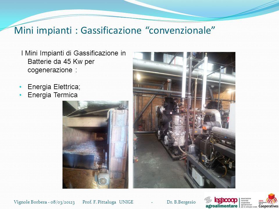 Mini impianti : Gassificazione convenzionale Vignole Borbera - 08/03/20123 Prof. F. Pittaluga UNIGE - Dr. B.Bergesio I Mini Impianti di Gassificazione