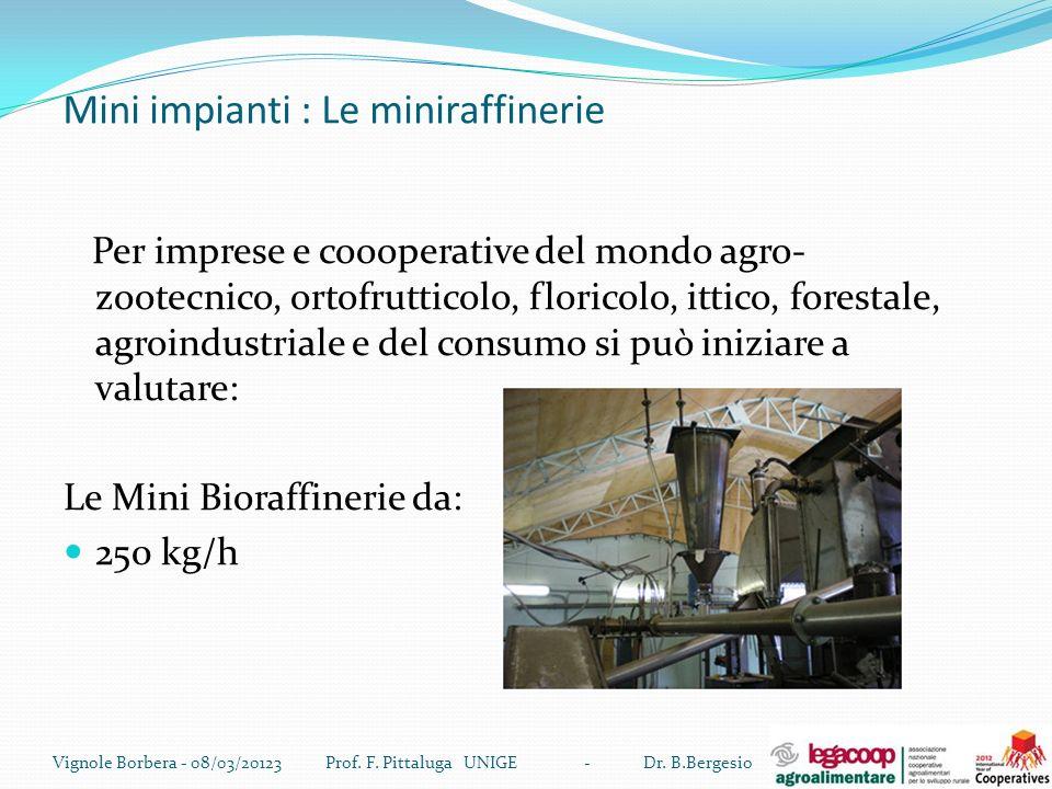 Mini impianti : Le miniraffinerie Per imprese e coooperative del mondo agro- zootecnico, ortofrutticolo, floricolo, ittico, forestale, agroindustriale