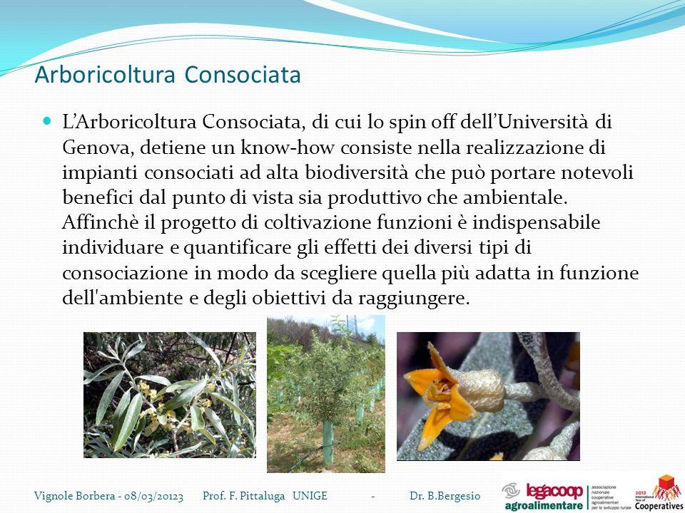 Arboricoltura Consociata LArboricoltura Consociata, di cui lo spin off dellUniversità di Genova, detiene un know-how consiste nella realizzazione di i