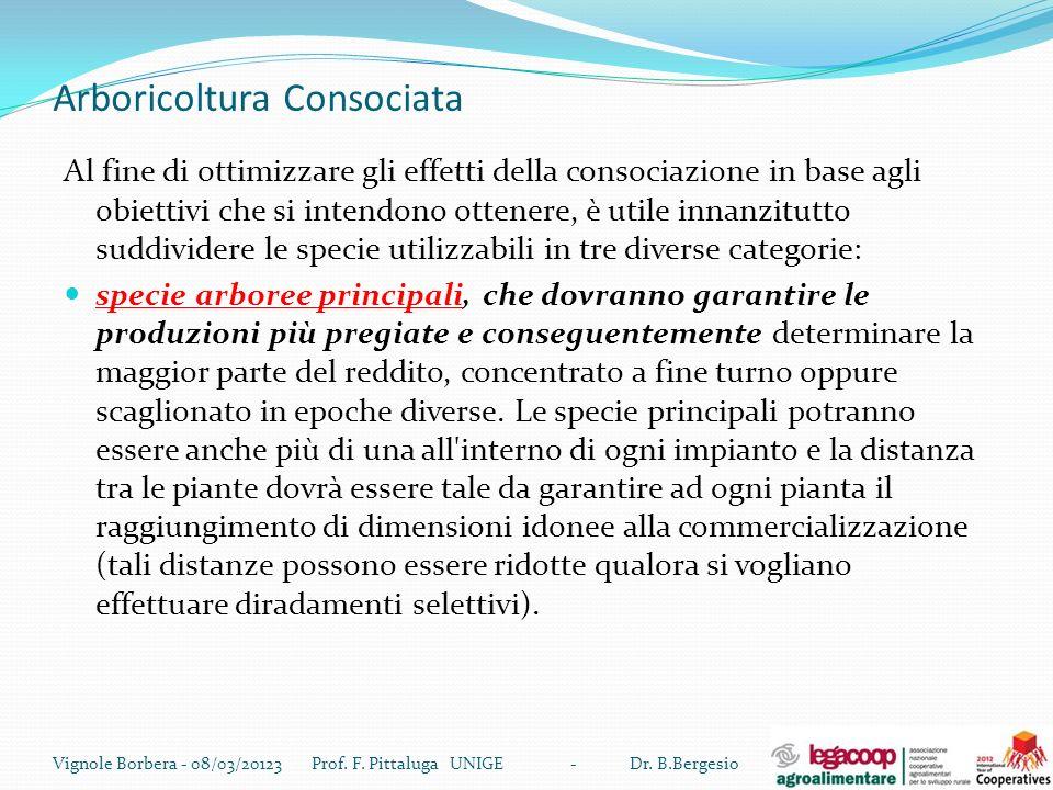 Arboricoltura Consociata Al fine di ottimizzare gli effetti della consociazione in base agli obiettivi che si intendono ottenere, è utile innanzitutto