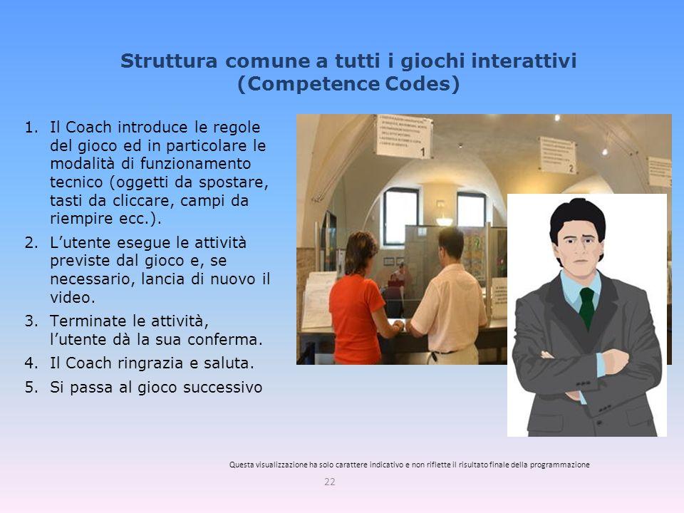 Struttura comune a tutti i giochi interattivi (Competence Codes) 22 1.Il Coach introduce le regole del gioco ed in particolare le modalità di funzionamento tecnico (oggetti da spostare, tasti da cliccare, campi da riempire ecc.).