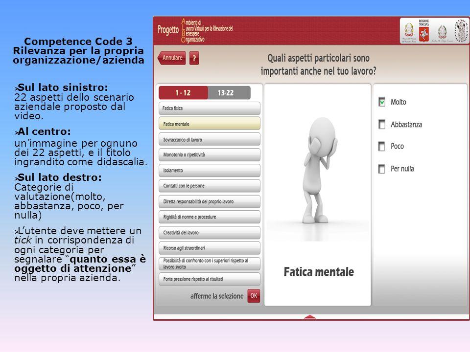 Competence Code 4 Cosa non ha funzionato Al centro: Fermi fotogramma (o mini clip) estratti dal video mostrato allinizio dellAvventura.