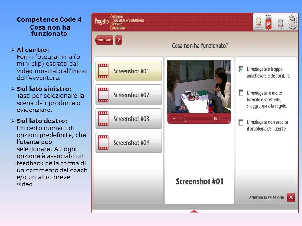 Competence Code 5 Test finale Sul lato sinistro: 10 domande di verifica, il cui contenuto riprende lintroduzione del coach e/o i temi affrontati precedentemente nel corso dellAdventure Game.