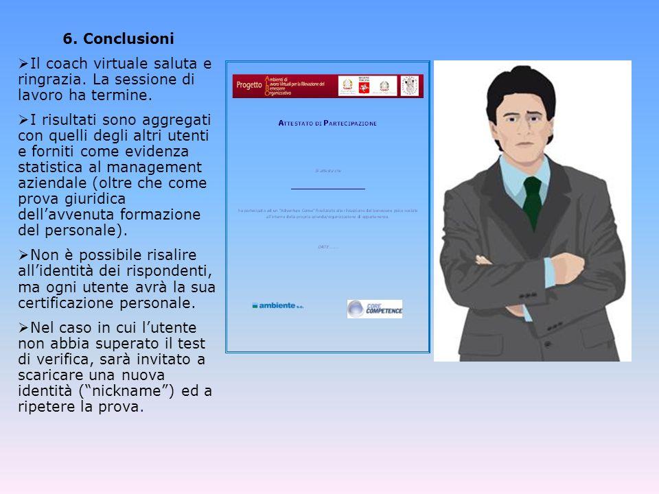 6.Conclusioni Il coach virtuale saluta e ringrazia.
