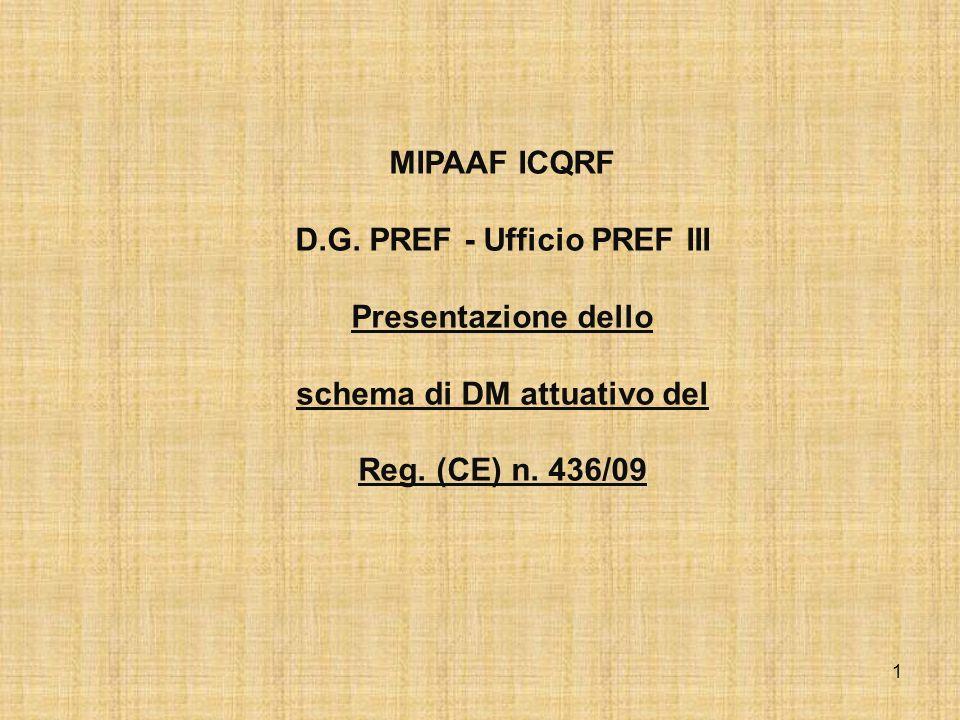 1 MIPAAF ICQRF D.G. PREF - Ufficio PREF III Presentazione dello schema di DM attuativo del Reg. (CE) n. 436/09