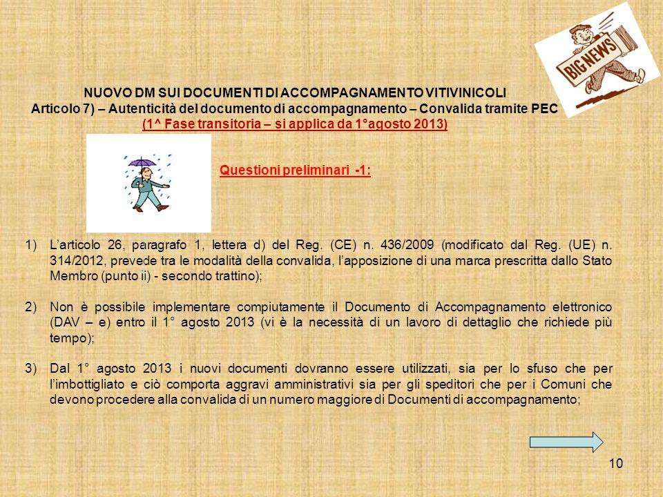 10 1)Larticolo 26, paragrafo 1, lettera d) del Reg. (CE) n. 436/2009 (modificato dal Reg. (UE) n. 314/2012, prevede tra le modalità della convalida, l