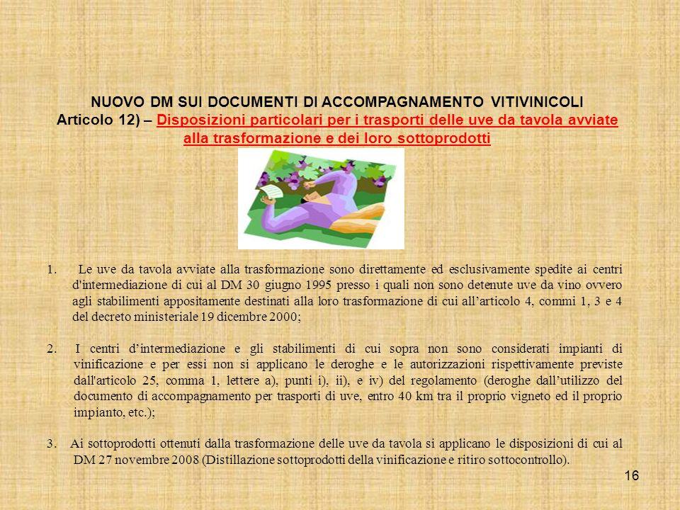 16 NUOVO DM SUI DOCUMENTI DI ACCOMPAGNAMENTO VITIVINICOLI Articolo 12) – Disposizioni particolari per i trasporti delle uve da tavola avviate alla tra