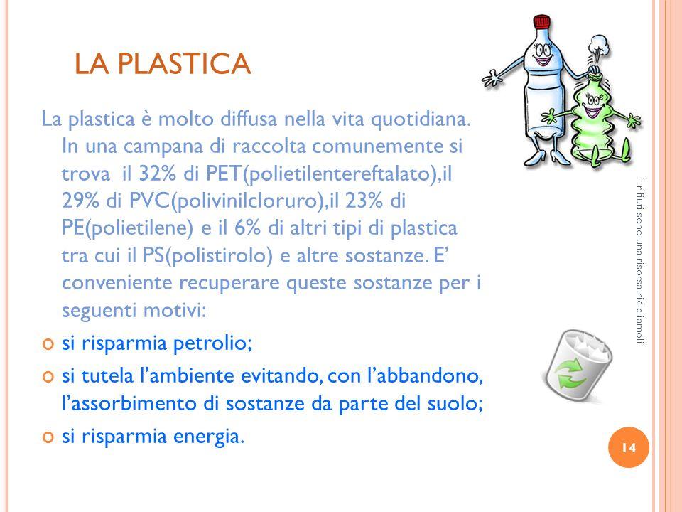 14 i rifiuti sono una risorsa ricicliamoli LA PLASTICA La plastica è molto diffusa nella vita quotidiana. In una campana di raccolta comunemente si tr
