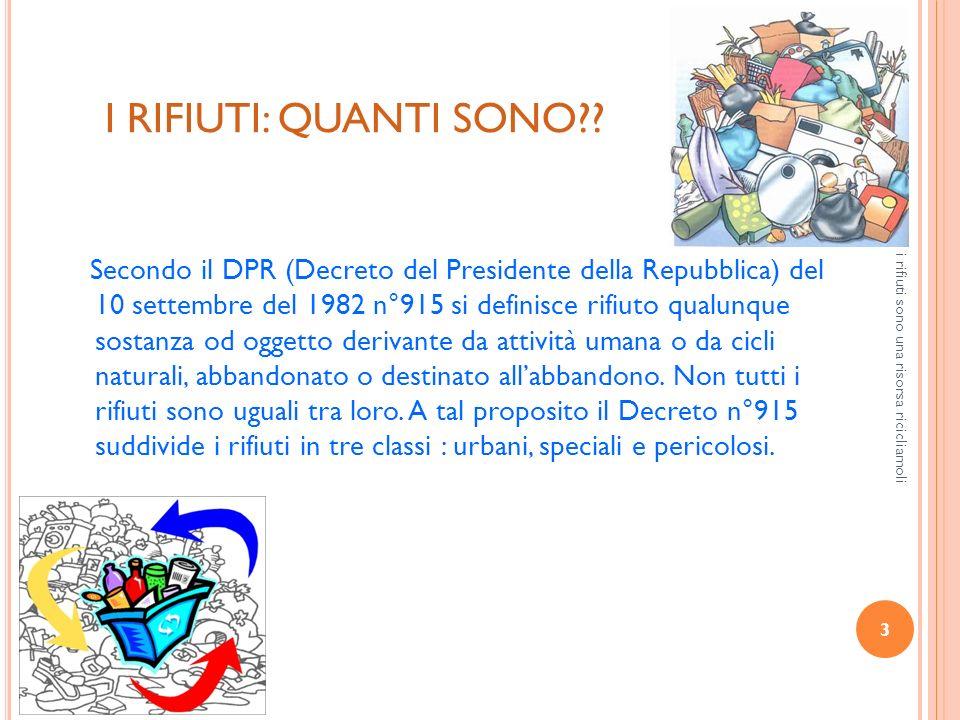 3 i rifiuti sono una risorsa ricicliamoli I RIFIUTI: QUANTI SONO?? Secondo il DPR (Decreto del Presidente della Repubblica) del 10 settembre del 1982