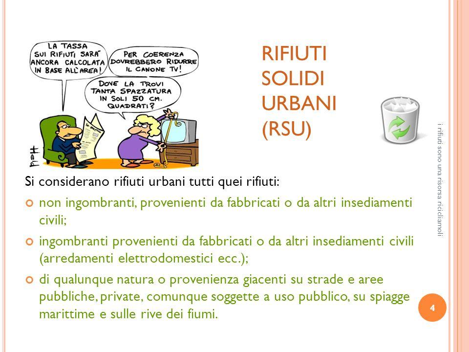 4 i rifiuti sono una risorsa ricicliamoli RIFIUTI SOLIDI URBANI (RSU) Si considerano rifiuti urbani tutti quei rifiuti: non ingombranti, provenienti d