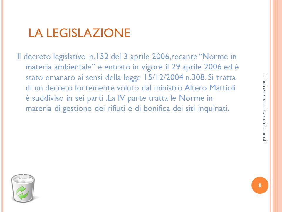 8 i rifiuti sono una risorsa ricicliamoli LA LEGISLAZIONE Il decreto legislativo n.152 del 3 aprile 2006,recante Norme in materia ambientale è entrato