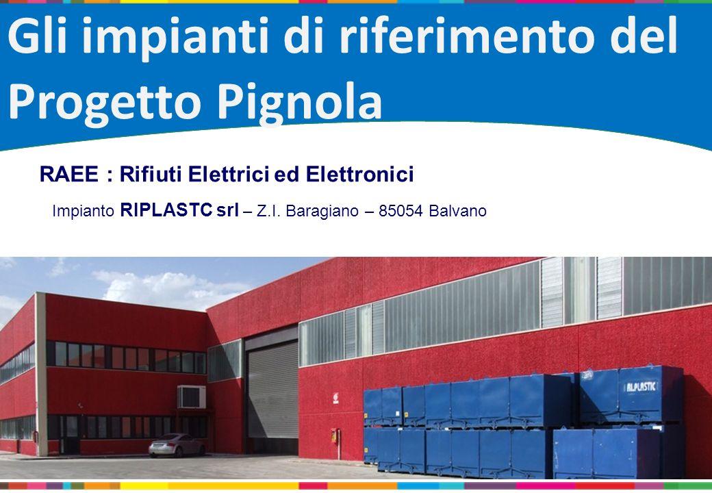 Gli impianti di riferimento del Progetto Pignola RAEE : Rifiuti Elettrici ed Elettronici Impianto RIPLASTC srl – Z.I. Baragiano – 85054 Balvano