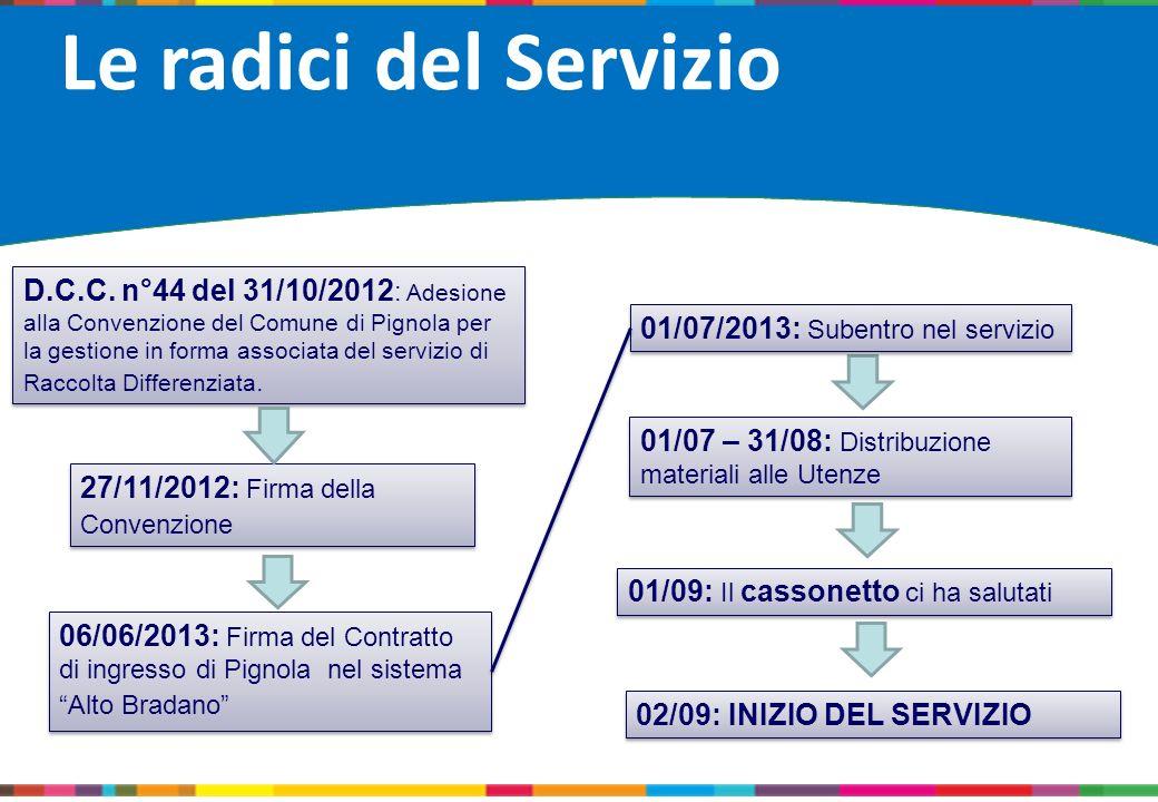 Loghi soggetti coinvolti Le radici del Servizio D.C.C. n°44 del 31/10/2012 : Adesione alla Convenzione del Comune di Pignola per la gestione in forma