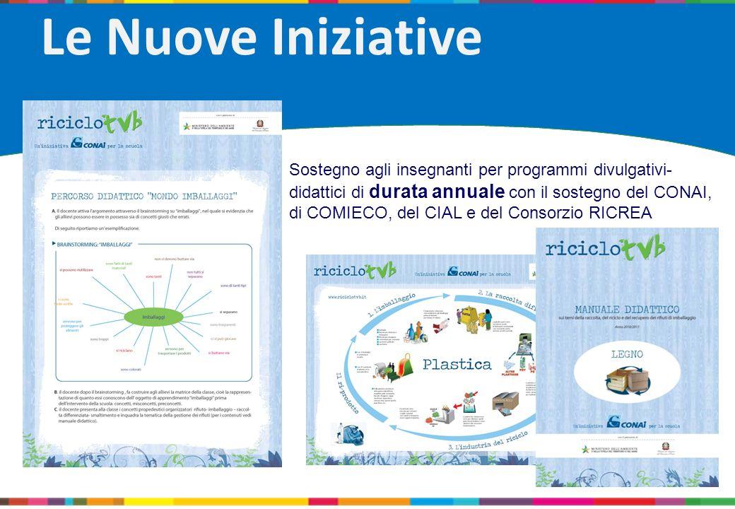 Le Nuove Iniziative Sostegno agli insegnanti per programmi divulgativi- didattici di durata annuale con il sostegno del CONAI, di COMIECO, del CIAL e