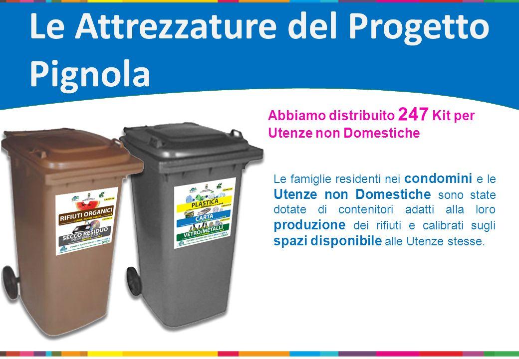 Le famiglie residenti nei condomini e le Utenze non Domestiche sono state dotate di contenitori adatti alla loro produzione dei rifiuti e calibrati su