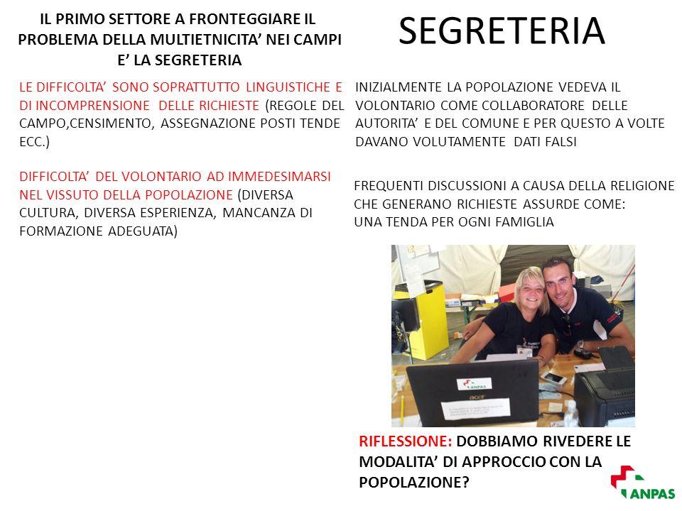 SEGRETERIA RIFLESSIONE: DOBBIAMO RIVEDERE LE MODALITA DI APPROCCIO CON LA POPOLAZIONE.