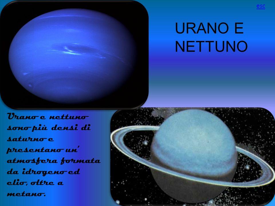 URANO E NETTUNO Urano e nettuno sono più densi di saturno e presentano un atmosfera formata da idrogeno ed elio, oltre a metano. esc